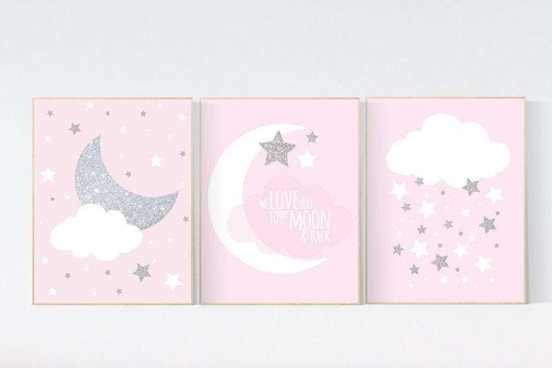 Pink Silver Nursery Decor Nursery Wall Art Girl Pink And Silver