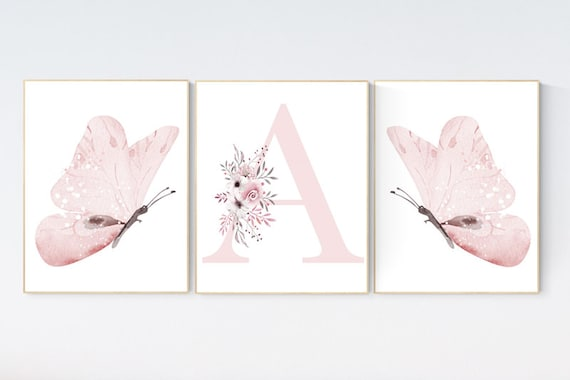 Nursery decor girl butterflies, Butterfly Nursery Art, Girl Nursery Art, Butterfly Nursery Decor for Baby Girl, Butterfly Art, light pink