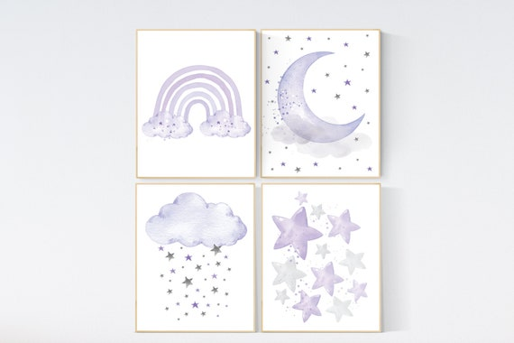Nursery prints rainbow, Nursery decor girl purple, lilac nursery, nursery wall art girl, moon star, cloud, rainbow nursery, lavender, lilac