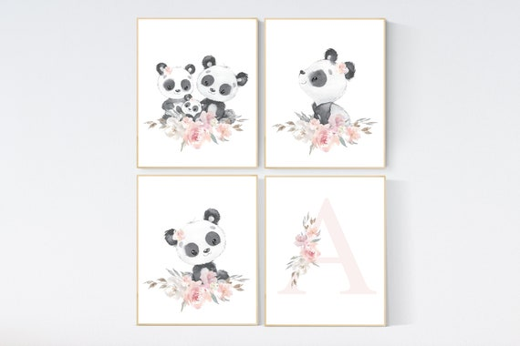 Nursery decor girl, panda nursery, blush pink and gray nursery wall art, floral nursery, nursery decor animal, girl nursery wall decor