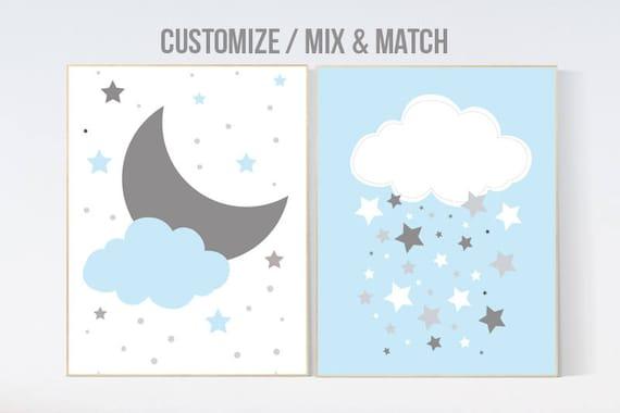 Baby boy nursery art, Nursery decor boy, nursery wall art, boy nursery, blue nursery decor, blue nursery wall decor, blue gray cloud nursery
