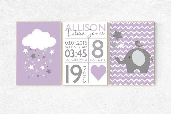Nursery decor girl purple, baby birth stats, Purple nursery decor, baby girl nursery wall art, nursery decor elephant, lilac, lavender