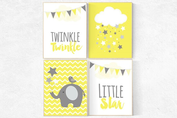Nursery decor girl yellow, Yellow nursery decor, gender neutral baby, Twinkle Twinkle Little Star, yellow gray nursery, baby room decor