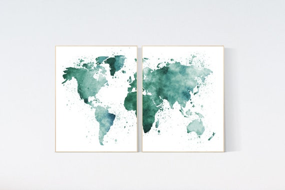 World map nursery,  green world map, world map wall art nursery, nursery wall art world map
