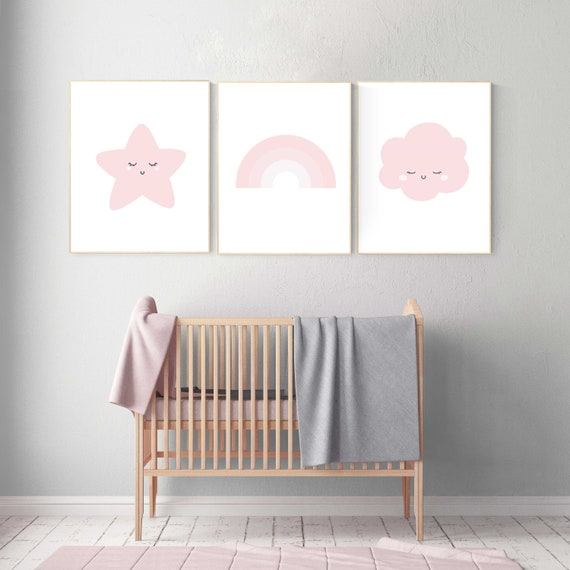 Nursery prints rainbow, Nursery decor girl, nursery wall art pink and grey, moon star, cloud, nursery wall art, girl nursery print, rainbow