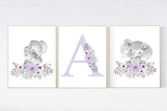 Purple nursery, Boho baby room, nursery wall art elephant, nursery decor girl, nursery decor girl floral, lilac nursery decor, lavender