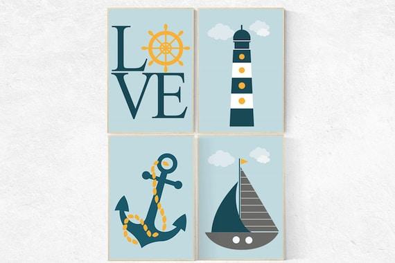 Nursery decor boy nautical, nautical nursery, navy blue yellow, nautical wall decor nursery, nautical wall decor boys room, baby room decor
