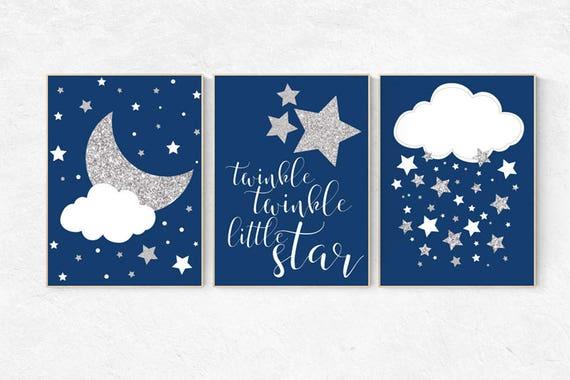 Navy silver nursery, navy silver nursery set, Baby boy nursery decor, twinkle twinkle little star, navy blue, cloud nursery, star nursery