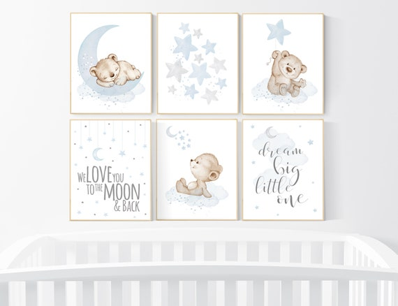 Nursery decor boy bear, grey blue, boys nursery prints, nursery decor boy ideas, blue beige, baby blue, dream big little one, set of 6