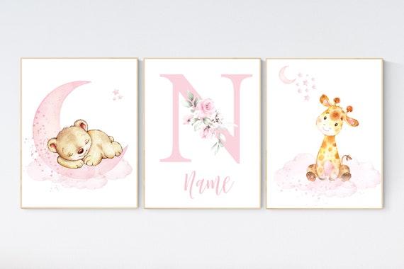 Nursery decor floral jungle, nursery decor animals, Nursery wall art elephant, giraffe, pink, blue, nursery wall decor, animal prints