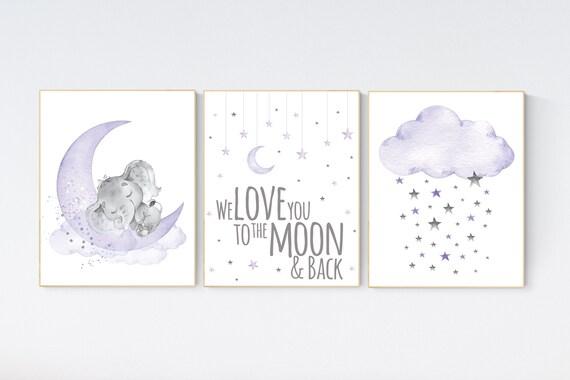 Nursery wall art elephant, Nursery prints girl, purple nursery, lavender, lilac nursery, moon and stars, girl baby room art, nursery set