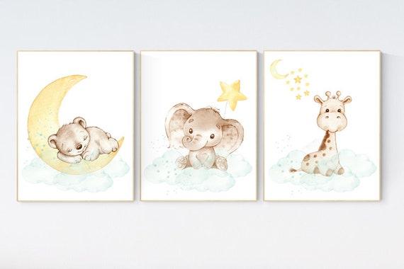 Mint and yellow nursery, nursery wall art neutral, moon and stars nursery, baby room decor, elephant, giraffe, bear, gender neutral prints
