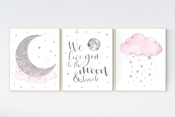 Nursery wall art girl, pink and silver nursery, cloud, stars, pink nursery art, cloud and stars, baby room decor for girls