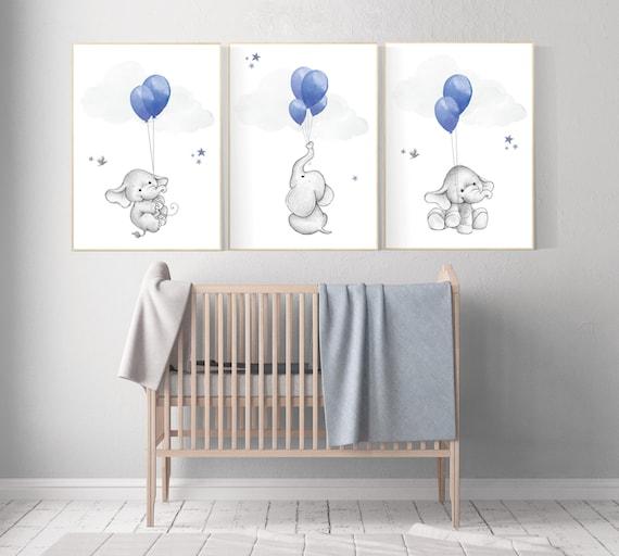 Nursery decor boy elephant, navy nursery wall art, elephant balloon print, navy blue, navy gray nursery wall decor, boy nursery ideas