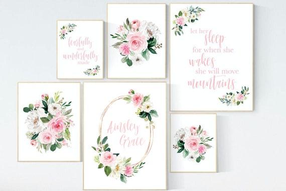 Nursery wall art floral, nursery decor girl flower, baby room prints, Boho baby room, pink nursery, flower baby room, quotes, girls room
