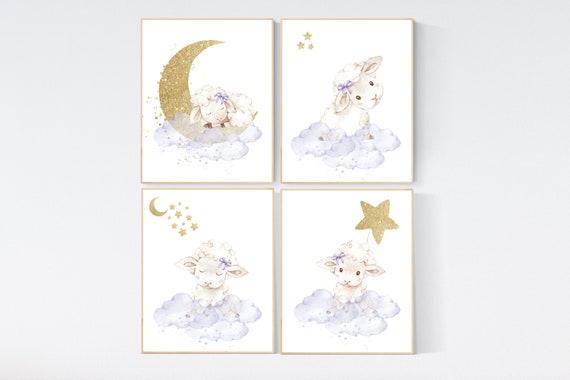 Sheep nursery decor, nursery decor lambs, lavender gold nursery decor, nursery wall art sheep, cloud and star, girl nursery