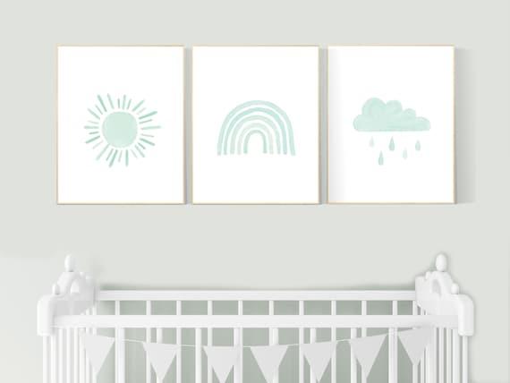 Nursery prints rainbow, gender neutral, mint nursery wall decor, rainbow, moon, cloud, nursery wall art, nursery decor neutral, mint green