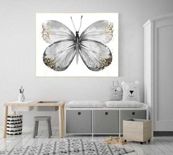 Nursery decor butterfly, gray nursery, gray gold, Butterfly Nursery Art, Girl Nursery Art, butterfly prints, Butterfly Art, grey, neutral