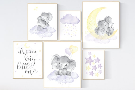 Nursery decor girl purple yellow, lilac yellow, nursery wall decor, moon and stars, lavender and yellow, gender neutral, elephant nursery