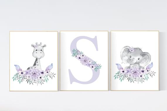 Purple teal nursery, Boho baby room, nursery wall art elephant giraffe , nursery decor girl, nursery decor girl floral, lilac, lavender