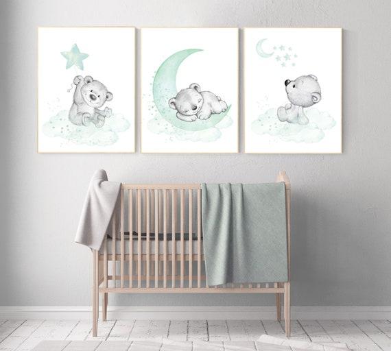 Nursery wall art animals, Nursery wall art mint and gray, baby room decor mint and gray, woodland, jungle, elephant, giraffe, bear, prints