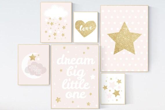 Pink gold nursery art, dream big little one, nursery decor, pale pink, pink and gold, moon nursery, nursery decor girl pink, gold nursery
