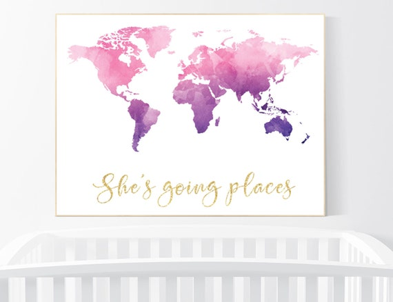 Nursery decor purple pink, girl room decor, world map print nursery, world map print watercolor, nursery wall art, pink purple, world map