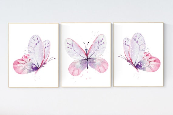 Nursery decor girl butterfly, purple pink, Butterfly Nursery Art, Girl Nursery Art, Butterfly Nursery Decor for Baby Girl, lilac, lavender