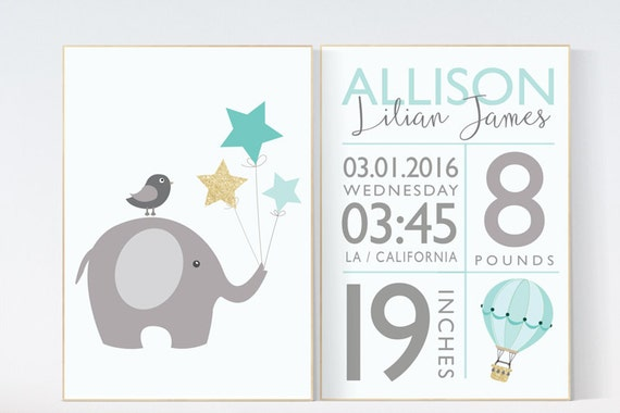 Birth stats wall art, mint and gold nursery, mint and gold baby shower, mint nursery decor, elephant nursery, baby birth stats, nursery art