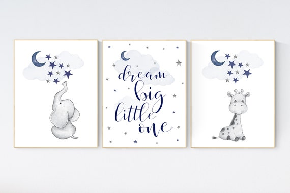 Nursery decor elephant and giraffe, animal nursery prints, navy nursery, navy blue nursery, baby room wall art, woodland animal prints