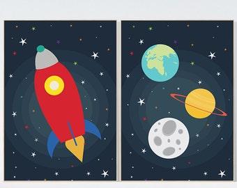 Space Theme Nursery Art Boy Bedroom Decor Boy Nursery Art Nursery Art Set  Of 2,