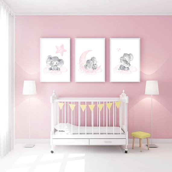 Elephant nursery art, elephant nursery print, pink and gray nursery, cloud and stars nursery, baby room decor girl, nursery prints girl