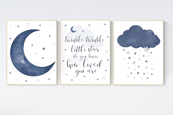 Nursery decor boy, navy nursery decor, moon and stars, twinkle twinkle little star, navy blue nursery art, baby boy nursery art, raindrops