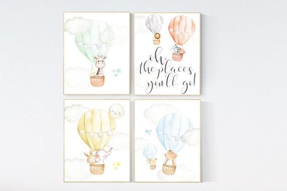 hot air balloon nursery wall art, nursery decor animals, elephant, giraffe, bear, bunny, gender neutral, twin, elegant, baby registry