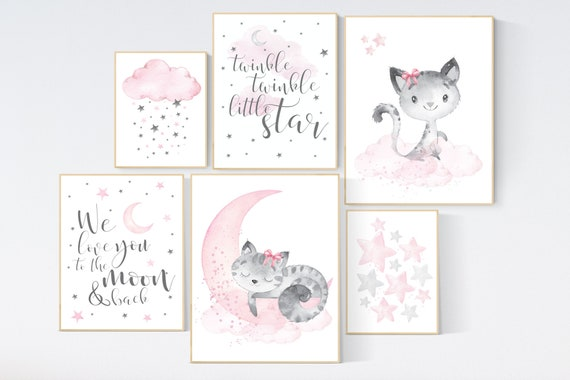 Nursery wall art girl, kitten, cat nursery, pink grey, nursery decor girl pink, we love you to the moon and back, baby room decor girl
