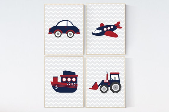 Transportation nursery, kids decor, vehicles wall art, navy red nursery, Baby Boy Nursery, playroom decor, boy decor, boys room decor