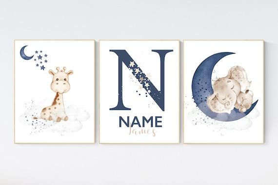 Nursery wall art animals, baby room decor navy blue, baby room decor, elephant, giraffe, animal nursery decor, name nursery