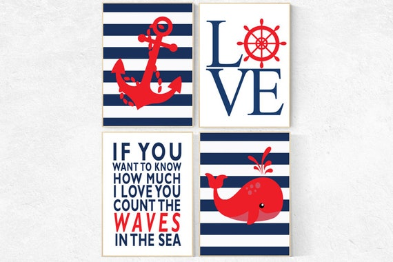 Nautical boy nursery, if you want to know how much we love you count all the waves in the sea, nautical baby room, Nautical Nursery Art