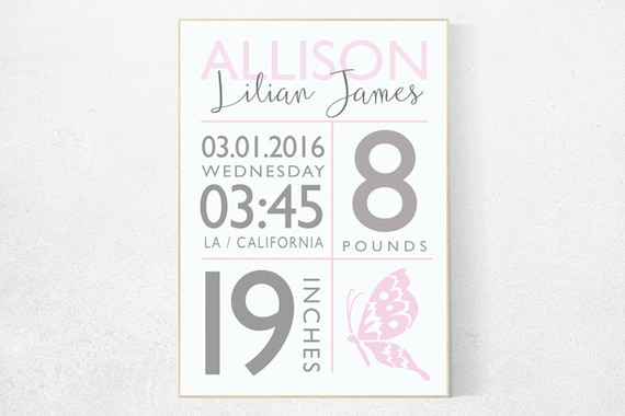 Girl birth announcement nursery decor, butterfly, pink nursery decor, nursery prints, baby birth print baby stats new baby gift Personalized