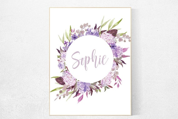 Purple flower nursery decor, Nursery decor girl purple, nursery decor girl name, lavender nursery, lilac nursery, girls room decor purple
