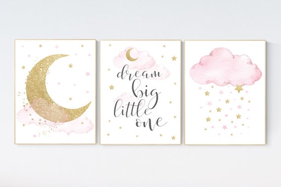 Nursery wall art girl pink and gold, baby room decor girl gold and pink, dream big little one, cloud and stars, baby room, moon and star