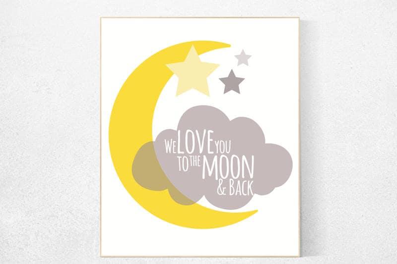 we love you to the moon and back nursery decor yellow nursery