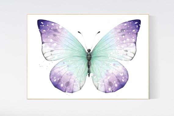 Nursery decor girl purple teal, nursery decor girl, butterfly nursery wall art, lavender teal nursery, lilac teal nursery, girls room decor