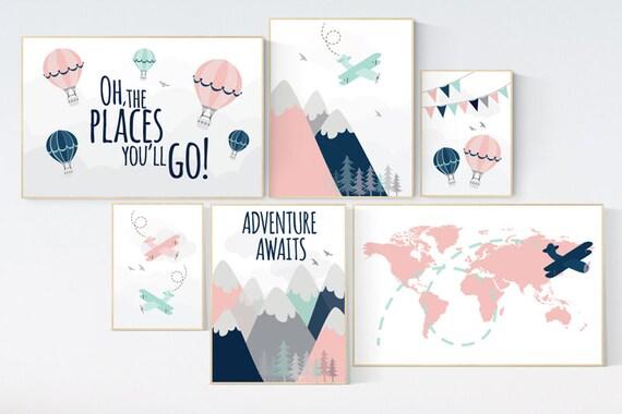 Adventure nursery decor, blush pink mint , mountain art print set, pink navy wall art, airplane, world map, adventure awaits hot air balloon