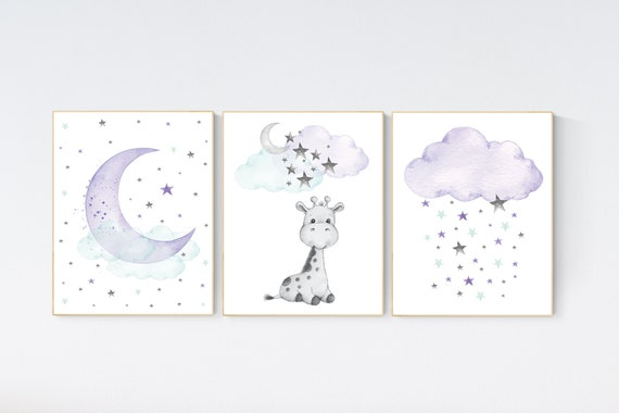 Nursery decor giraffe, Nursery decor girl purple, moon and stars, purple mint, lavender, girl nursery decor giraffe, cloud and stars