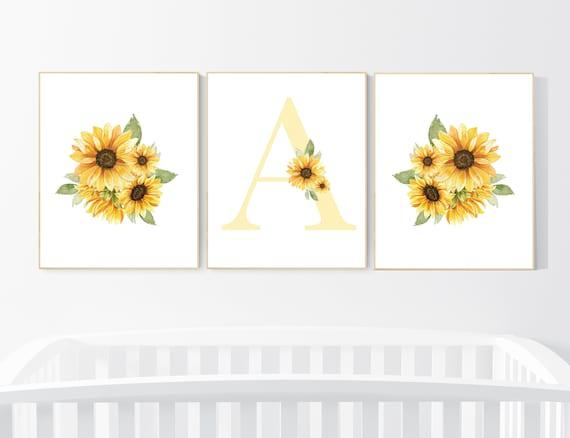 Nursery decor girl flower, Sunflower nursery, Yellow nursery, floral nursery, boho nursery, name nursery, sunflower, girl nursery wall decor