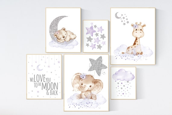 Nursery decor girl, lilac and silver nursery, animal nursery, we love you to the moon and back, purple silver, lavender nursery, animals