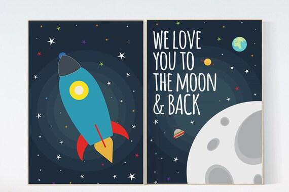 Space nursery decor, we love you to the moon and back, boys room wall art, baby boy, moon print, playroom decor, kids room, space decor