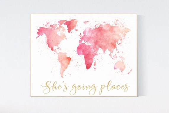 Canvas Listing: Pink gold world map watercolor, she's going places, blush pink and gold, world map print for nursery, nursery decor girl