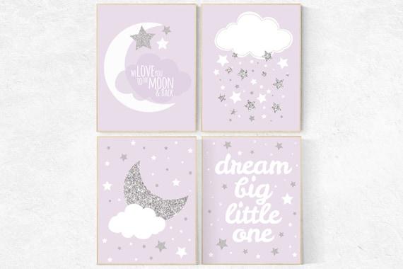 Nursery decor girl purple silver, lavender nursery art, lilac nursery, girls room decor purple, lavender and gray, dream big little star